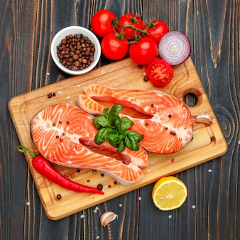 Salmon red fish steak crudo fresco