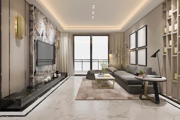 Salone classico di lusso della rappresentazione 3d con le mattonelle e lo scaffale per libri di marmo