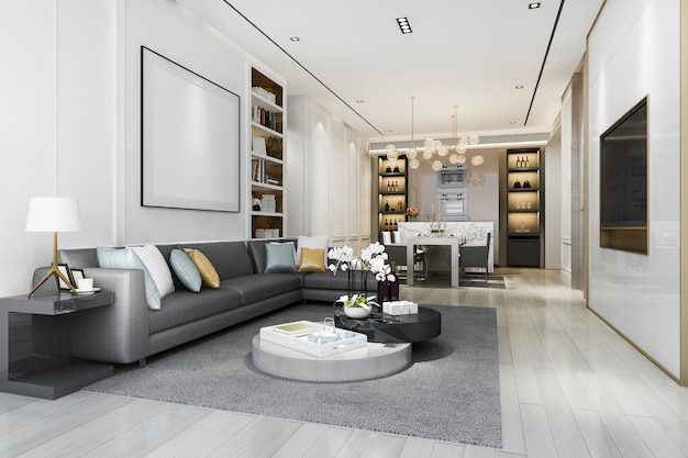 Salone di lusso del sottotetto della rappresentazione 3d con lo scaffale per libri e la sala da pranzo