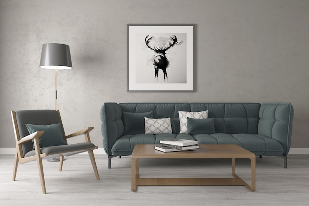 Salone domestico moderno con la cornice sulla parete