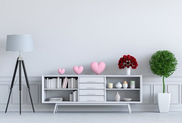 Salone e illustrazione interna di progettazione rosa del cuore 3d, stanza del biglietto di s. valentino