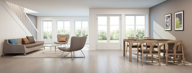 Salone e sala da pranzo in casa moderna, interno domestico - rappresentazione 3d
