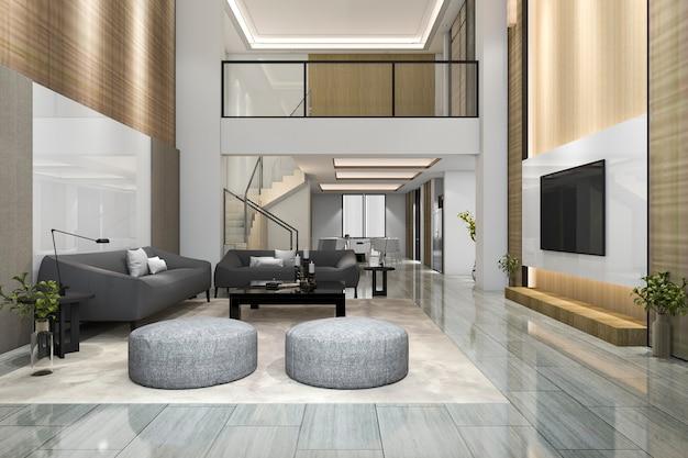 Salone e sala da pranzo moderni di legno della rappresentazione 3d con la tv