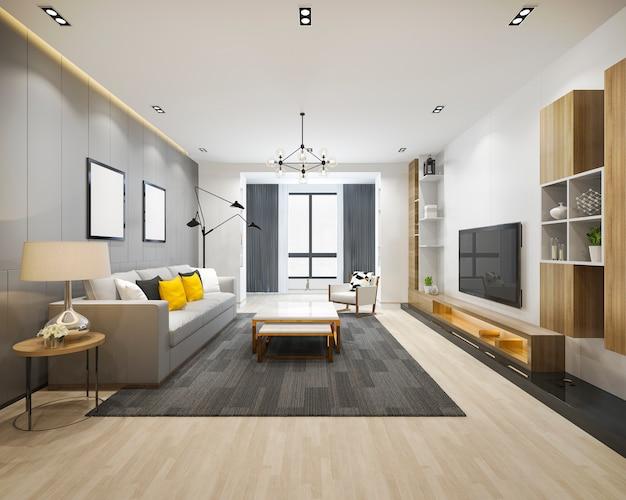 Salone e stanza di funzionamento di lusso del sottotetto della rappresentazione 3d con lo scaffale per libri