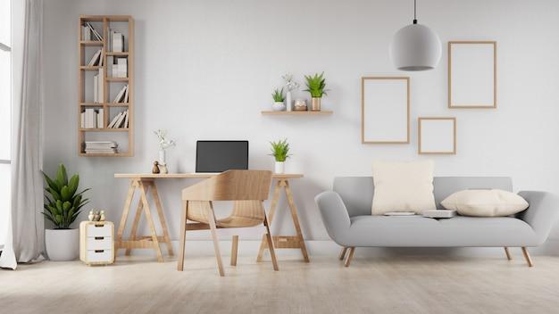 Salone in bianco interno della struttura della foto con il sofà, la tavola e le sedie bianchi. rendering 3d.