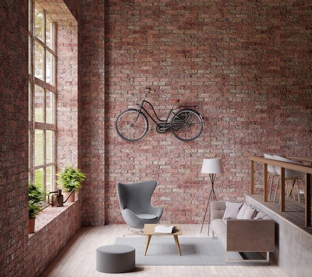Salone industriale, grande finestra, divano e sedia, pavimento in legno, bicicletta