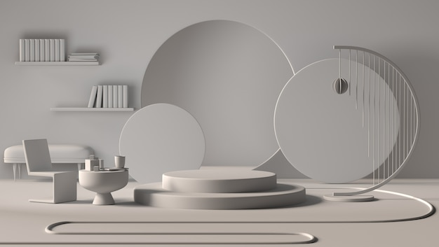Salone interno astratto dell'appartamento con l'esposizione del podio o il prodotto della vetrina