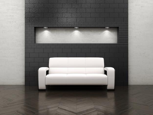 Salone interno con mobili e divano