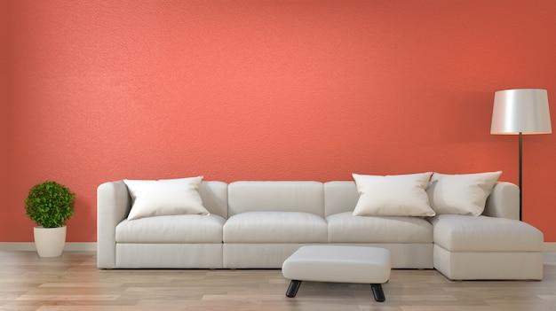 Salone interno minimalista, concetto di decorazione corallo vivente con divano sul pavimento di legno.