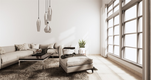 Salone moderno con la parete bianca sul pavimento e sul sofà di legno