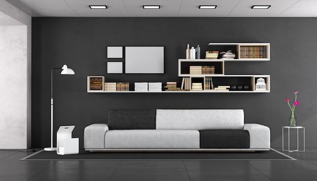 Salone moderno in bianco e nero