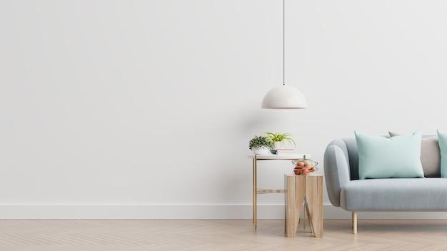 Salone vuoto con divano blu, piante e tavolo sul fondo della parete bianca vuota. rendering 3d