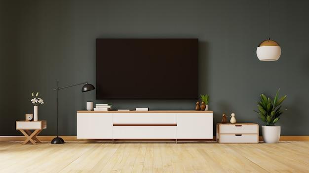 Salone vuoto con il sofà, la lampada e le piante blu del tessuto sulla parete scura vuota. rendering 3d