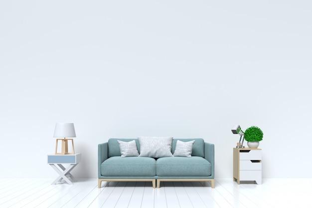 Salone vuoto con muro bianco e divano, lampada sullo sfondo
