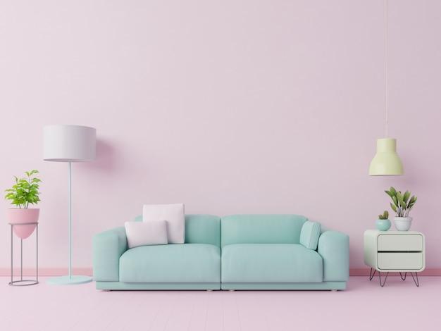 Salotto colorato color pastello con divano e decorazione della stanza. rendering 3d