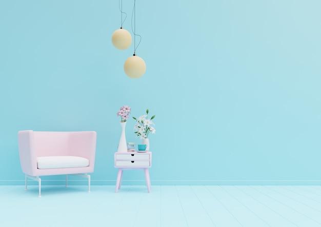 Salotto colorato color pastello con poltrona e decorazione della stanza. rendering 3d