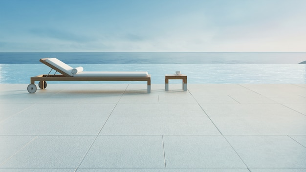 Salotto della spiaggia - la villa dell'oceano con lo stagno e la vista del mare / 3d rendono