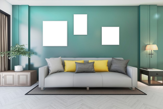 Salotto verde vintage con divano e pianta e cornice