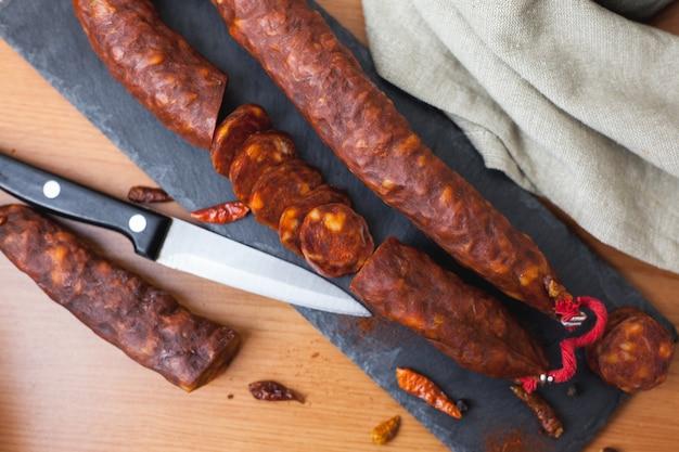 Salsiccia chorizo spagnola a pezzi