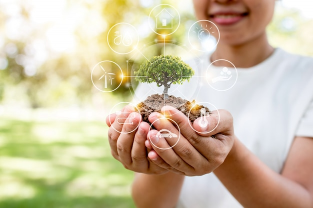 Salva il mondo con piantare alberi, donna con alberello e buona energia per il collegamento ambientale