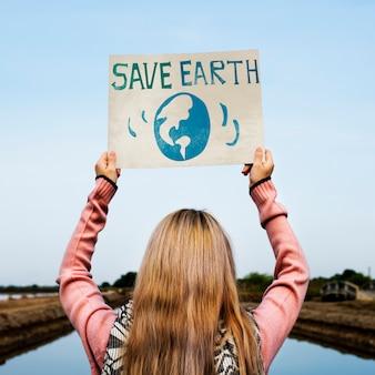Salva l'ambiente di terra proteggi il grafico di supporto