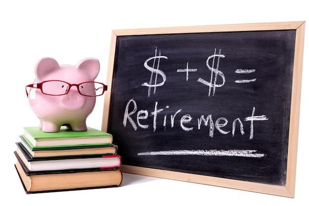 Salvadanaio con formula di pensionamento