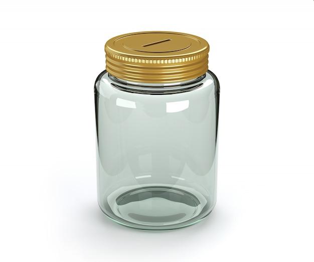 Salvadanaio di vetro vuoto isolato.