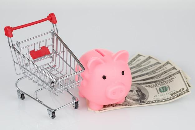 Salvadanaio rosa, banconote da un dollaro e mini carrello