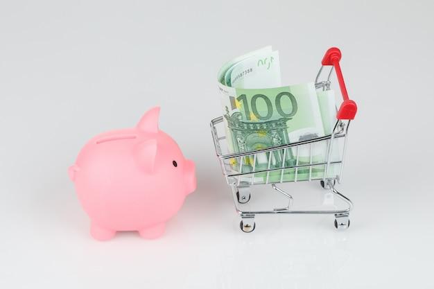 Salvadanaio rosa, banconote in euro e mini carrello