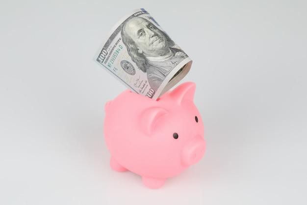 Salvadanaio rosa con 100 dollari di banconota, concetto di risparmio di crisi