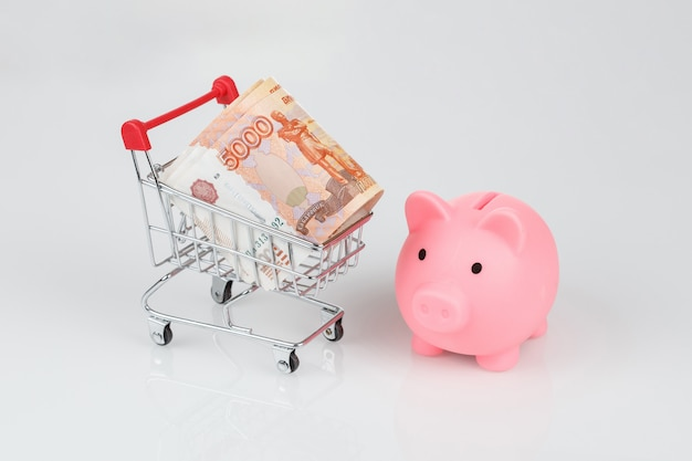 Salvadanaio rosa e banconote da 5000 rubli, concetto di valuta