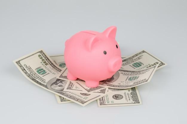 Salvadanaio rosa sul mucchio delle banconote del dollaro