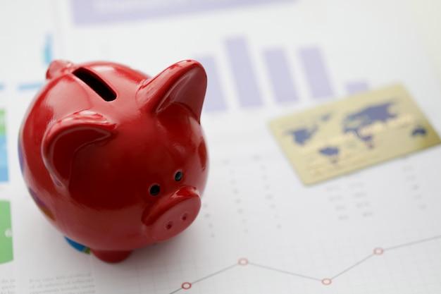 Salvadanaio rosso con carta di credito in plastica