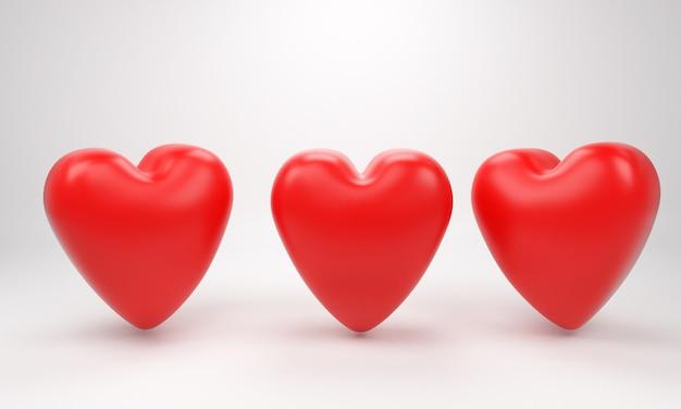 San valentino red sweet balloon hearts. illustrazione vettoriale 3d