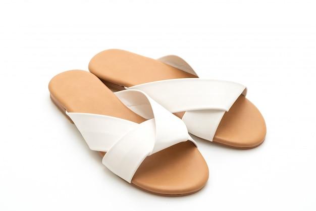 Sandali in pelle bella donna e donna di moda