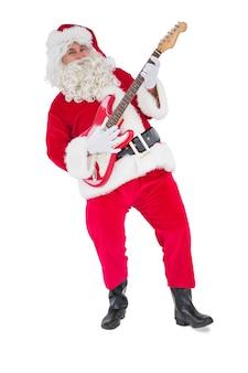 Santa sorridente che gioca chitarra elettrica