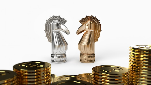 Scacchi del cavaliere dell'oro & d'argento e rappresentazione 3d delle monete sul fondo bianco per il contenuto di affari.