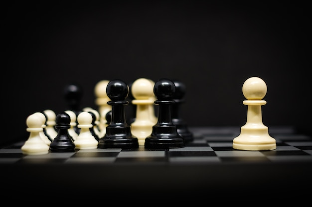 Scacchi (pedina) per sfondo o texture leader - business & strategy concept.