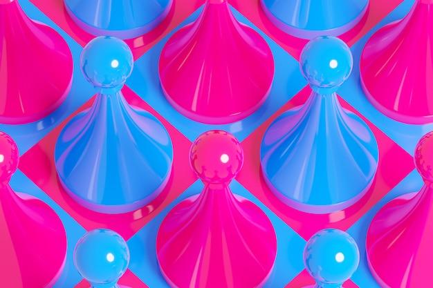 Scacchi rosa e blu dell'illustrazione 3d, ispettori su una scacchiera su un fondo bianco.