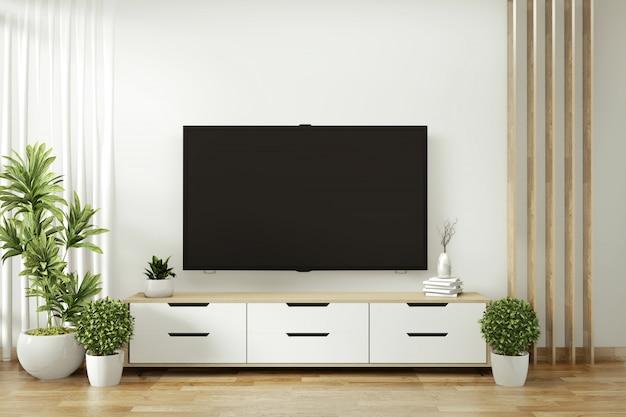 Scaffale della tv nella stanza vuota moderna e piante della decorazione sul pavimento bianco della parete di legno. rendering 3d