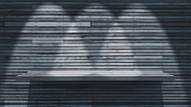 Scaffale di legno 3d sulla parete di legno con i riflettori che splendono giù