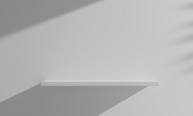 Scaffale di legno di galleggiamento della rappresentazione 3d sulla parete bianca vuota.