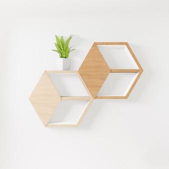 Scaffale esagonale copia spazio, oggetto decorativo