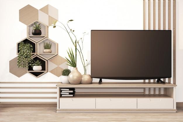 Scaffale esagonale e piastrelle su parete e mobile in legno in stile giapponese in camera minimal