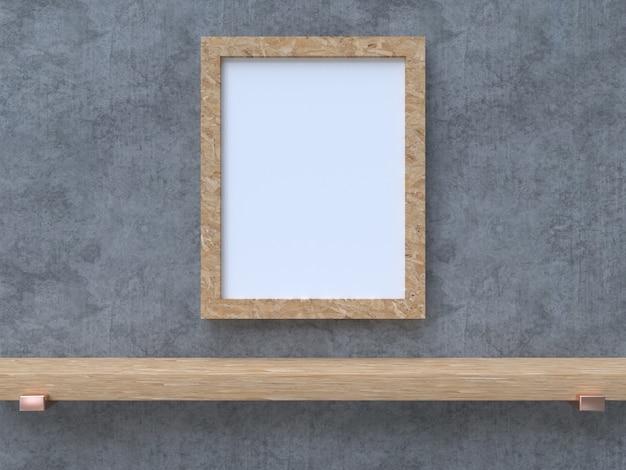 Scaffale in legno bianco trama di cemento rendering 3d mock up