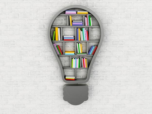 Scaffale per libri 3d a forma di lampadina.