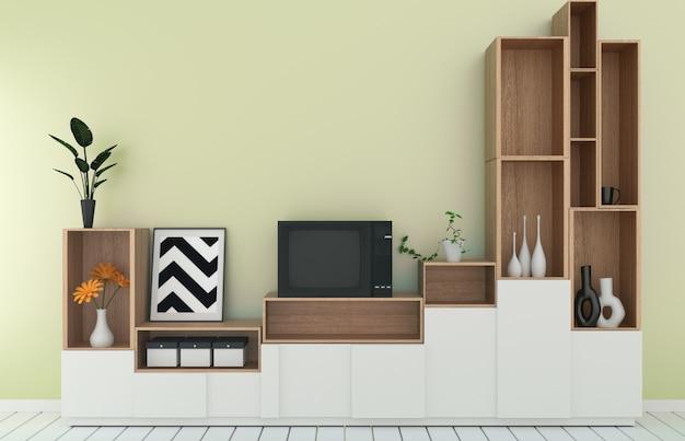 Scaffale tv in camera gialla stile tropicale moderno