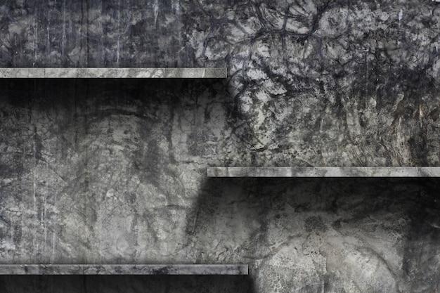 Scaffale vuoto con sfondo di muro di cemento vecchio,