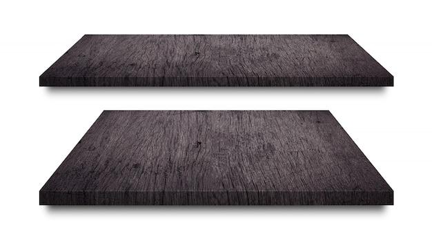 Scaffali in legno nero isolati su bianco