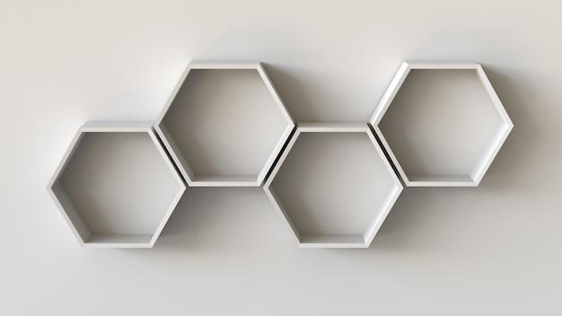 Scaffali vuoti bianchi esagoni sul fondo della parete in bianco